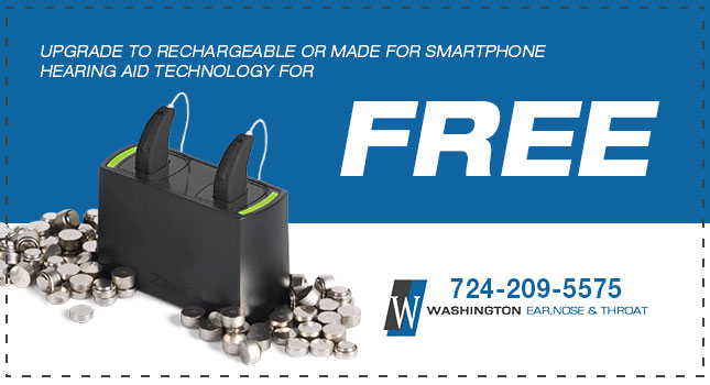 FREE Upgrade to Rechargeable or Made for Smartphone hearing aid - Washington ENT